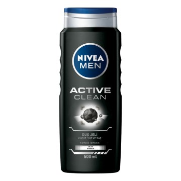 Nivea - Men Active Clean Aktif Karbon Duş Jeli 500 ml