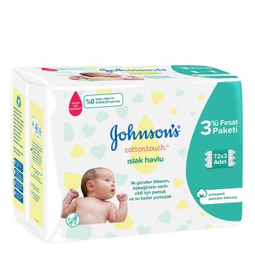 Johnsons Baby - Islak Mendil Cotton Touch 3 x 72
