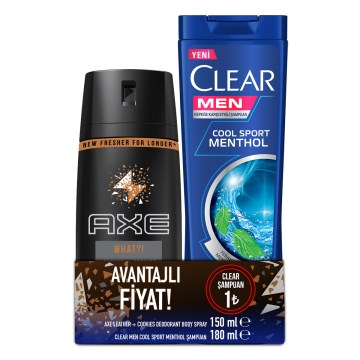 Axe - Deo Sprey Leather&Cookies 150 ml+Clear Şampuan Cool Sport 180 ml